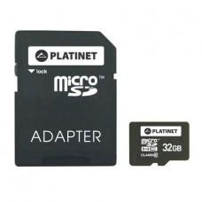 Card de memorie Platinet MicroSDHC 32GB Class 10 + Adaptor SD